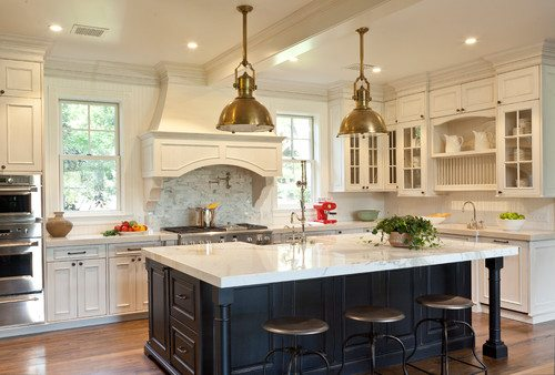 Kitchen with brass and marble