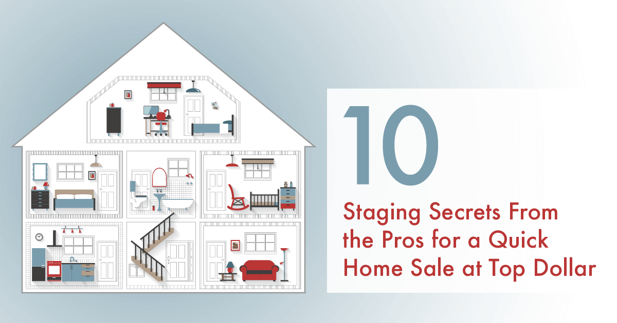 "Infographic of a home with ""10 Staging Secrets From the Pros for a Quick Home Sale at Top Dollar"" to the right."